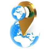 La tierra del planeta y el mapa de oro fija el icono en la tierra ilustración 3D stock de ilustración