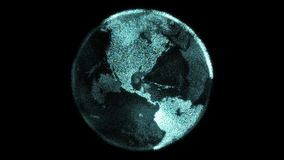 La tierra digital de la partícula futurista hace girar con los continentes brillantes hechos de los pixeles stock de ilustración
