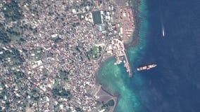 La tierra enfoca adentro enfoque fuera de Moroni Comoros ilustración del vector
