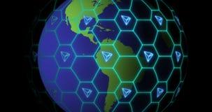 La tierra es enredada por la red del blockchain de Tron TRX Concepto de Blockchain ilustración del vector