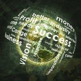 La tierra, esfera consiste las palabras del negocio y los gráficos Foto de archivo libre de regalías