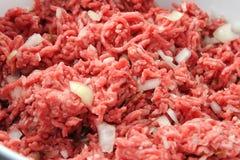 La tierra pica la carne con las cebollas Imágenes de archivo libres de regalías