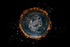 La tierra plana dentro de las estrellas y de fire2 Imagen de archivo libre de regalías