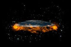 La tierra plana dentro de las estrellas y de fire4 Imagen de archivo libre de regalías