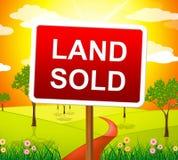 La tierra vendida indica al agente inmobiliario And Building Imagen de archivo