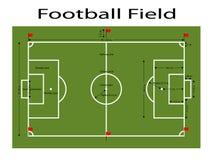 La tierra verde del campo de fútbol, fútbol verde archivó la tierra Medidas estándar Ejemplo del vector del deporte, imagen, JPEG Fotos de archivo libres de regalías