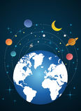 La tierra y la luna gira en órbita stock de ilustración
