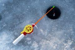 La tige pour la pêche d'hiver Photo libre de droits