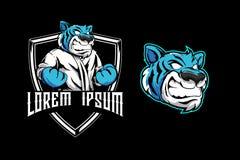 La tigre blu aggressiva per le arti marziali bastona il modello di logo del distintivo dello schermo illustrazione di stock