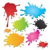 La tinta colorida salpica Imagen de archivo libre de regalías