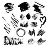 La tinta salpica, las manchas blancas /negras, las líneas y los círculos en un fondo de los blancos ilustración del vector