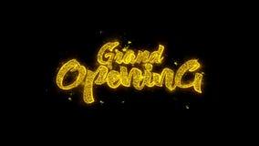 La tipografía de la gran inauguración escrita con las partículas de oro chispea los fuegos artificiales