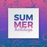 La tipografía de las vacaciones de verano para el cartel, bandera, carda diseño estacional con el marco, fondo azul rosado de la  ilustración del vector