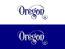 La tipografía De los E.E.U.U. Oregon indica el ejemplo manuscrito en el funcionario U S Colores del estado stock de ilustración