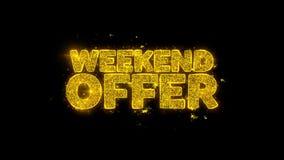 La tipografía de la oferta del fin de semana escrita con las partículas de oro chispea los fuegos artificiales libre illustration