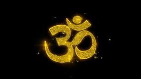 La tipografía del shiva de OM o del aum escrita con las partículas de oro chispea los fuegos artificiales