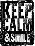 La tipografía del vector guarda calma y sonríe Foto de archivo libre de regalías