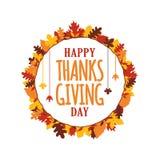 La tipografía feliz del día de la acción de gracias con caída del otoño deja el marco del ornamento Logotipo, insignia, etiqueta  ilustración del vector