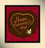 La tipografía feliz del día de San Valentín en estilo del vintage de la textura del fondo del chocolate con subió en marco Foto de archivo