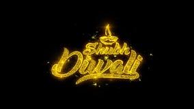 La tipografía feliz del diwali del diwali de Shubh escrita con las partículas de oro chispea los fuegos artificiales