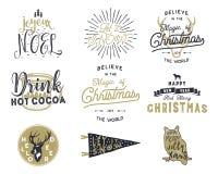 La tipografía grande de la Feliz Navidad cita, los deseos lía Resplandores solares, cinta y elementos del noel de Navidad, iconos Imágenes de archivo libres de regalías