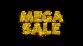 La tipografía mega de la venta escrita con las partículas de oro chispea los fuegos artificiales