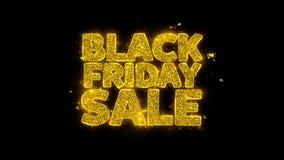 La tipografía negra de la venta de viernes escrita con las partículas de oro chispea los fuegos artificiales