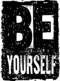 La tipografía sea usted mismo del vector extracto Foto de archivo libre de regalías
