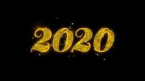 La tipograf?a 2020 de la Feliz A?o Nuevo escrita con las part?culas de oro chispea los fuegos artificiales