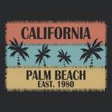 La tipografia della California per progettazione copre, magliette, abito Palm Beach Immagini Stock