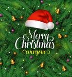La tipografia di saluti di Buon Natale con il cappello del Babbo Natale in un pino verde lascia il fondo illustrazione di stock