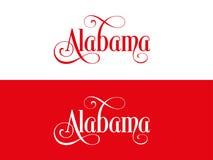 La tipografia Di U.S.A. Alabama indica l'illustrazione scritta a mano sul funzionario U S Colori dello stato Royalty Illustrazione gratis