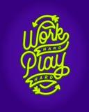 La tipografia dura dell'iscrizione della mano di monoline del gioco duro del lavoro cita Illustrazione Vettoriale