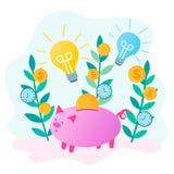 La tirelire sauve l'argent et les ampoules rougeoyantes comme symbole de nouvelle idée illustration stock