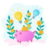 La tirelire sauvent l'argent et les ampoules rougeoyantes comme symbole de nouvelles idées illustration de vecteur