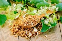 La tisana dal tiglio asciutto fiorisce su un cucchiaio Fotografia Stock Libera da Diritti