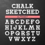 La tiza bosquejó la fuente, alfabeto stock de ilustración
