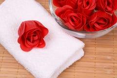 Jabón y toalla Fotografía de archivo libre de regalías
