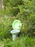 La toilette è messa sui precedenti di erba verde Fotografia Stock Libera da Diritti