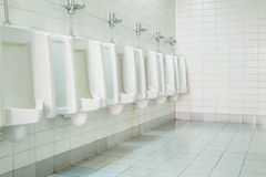 La toilette de l'homme avec la vue de toilette par des urinoirs, intérieure au vieux fond de toilette Photos stock