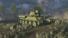 La toma del tanque T 34 tiene como objetivo la cámara stock de ilustración