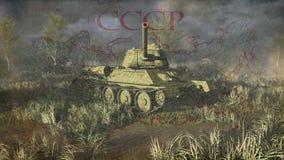 La toma rusa del tanque T 34 tiene como objetivo la cámara libre illustration