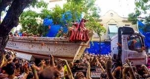 La Tomatina节日在Bunol,西班牙2015年 免版税库存照片