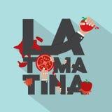 La Tomatina印刷术设计 免版税库存照片