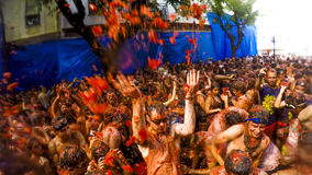 La Tomatina-Festival in Bunol, Spanien 2015 Lizenzfreie Stockfotos