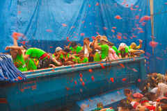 La Tomatina festival where people throw tomatoes royalty free stock photo