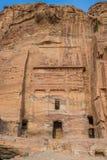 La tomba di seta in città nabatean di PETRA Giordano fotografia stock libera da diritti