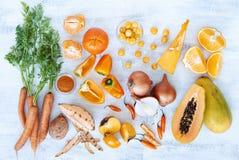 La tonalità arancio ha tonificato i prodotti freschi della raccolta Immagine Stock Libera da Diritti