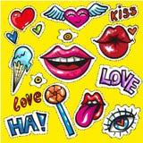 La toppa di modo dei fumetti di Pop art badges il giorno di S. Valentino di amore degli autoadesivi royalty illustrazione gratis