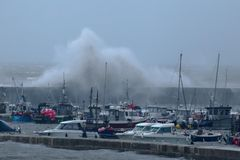 La tormenta Callum golpea Dorset imagen de archivo